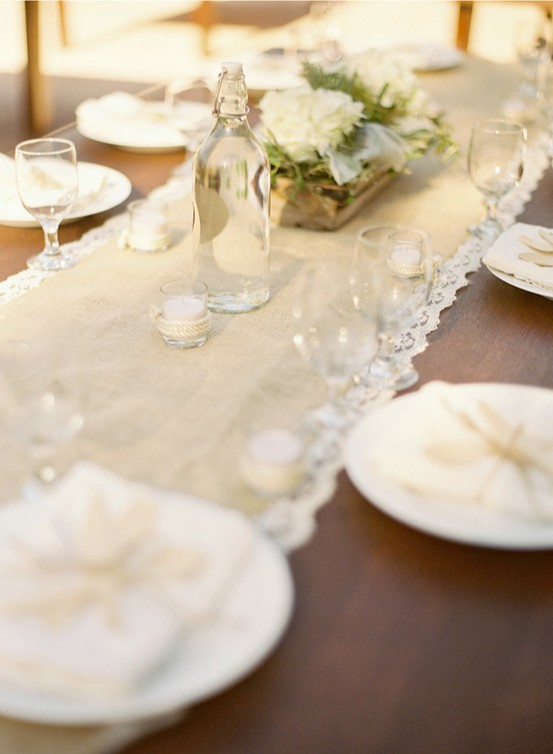 Fall Wedding - Burlap & Lace Wedding Table Runner #893324 - Weddbook