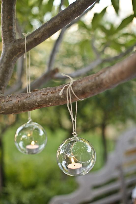 glass hanging tealights for garden wedding decoration, Garden idea
