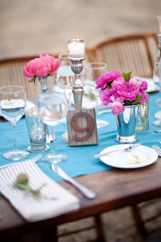 Garden wedding turquoise wedding table decoration ideas for Decoration table bapteme