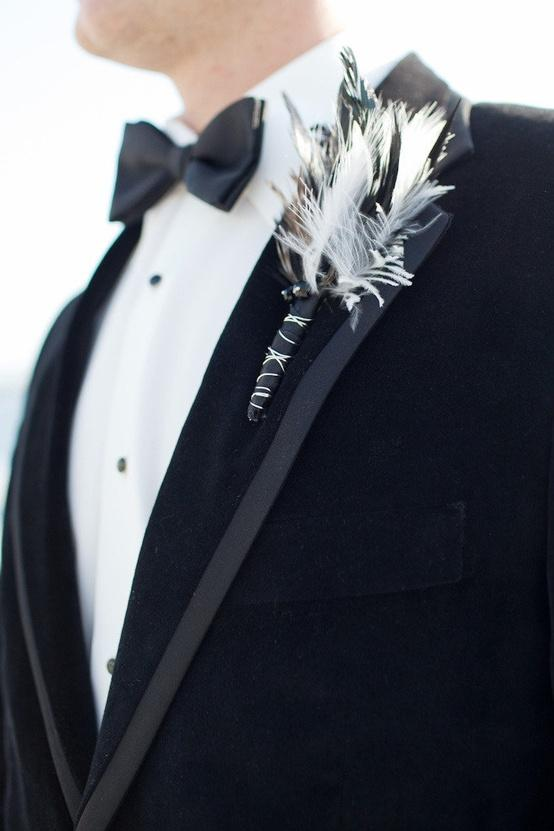 Wedding - Feather Boutonniere, Black Bow Tie and  Gorgeous Tuxedo ♥ Unique Boutonniere for Groom