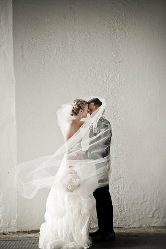 Wedding - Bride and Groom Behind Veil Photo ♥ Creative Wedding Photo Idea