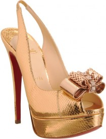 wedding photo -  Christian Louboutin Wedding Shoes with Red Sole  Chic and Fashionable Wedding High Heels | Dore Parlak Yuksek Topuklu Abiye Ayakkabi Modelleri