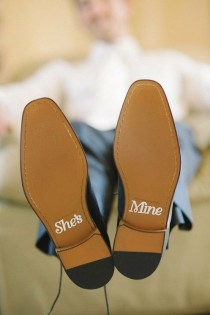 wedding photo - She's Mine Wedding Shoe Stickers for Grooms