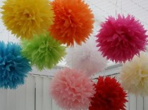 wedding photo - Wedding Paper Pom Poms ♥ Wedding & Party Decoration Ideas