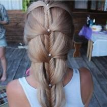 wedding photo -  Unique Pearly Fishtail Braid Hairstyles for Wedding ♥ Gorgeous Wedding Hairstyles for Long Hair