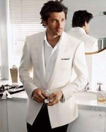 wedding photo - Menswear Fashion ♥ Patrick Dempsey ♥ White Groom Tuxedo