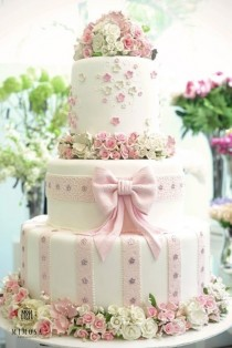 wedding photo - Beautiful Wedding Cake with Edible Sugar Flowers