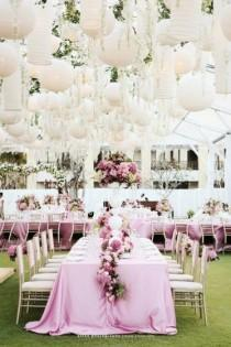 wedding photo - Pink Garden Wedding Decoration ♥ Chinese White Paper Lantern