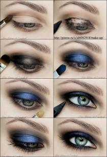 wedding photo - Metallic Blue / Navy Smokey Eye Makeup Photo Tutorial