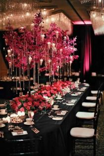 wedding photo -  Pink and Black Wedding Decor Ideas  Wedding Centerpiece | Pembe Siyah Dugun Dekorasyonlari  Kristal ve Ciceklerle Suslu Dugun Masalari