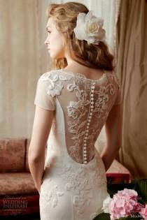 wedding photo - Miamia Alan Hannah Bridal Collection Printemps ♥ Retour Magnifique robe de mariée en dentelle Bouton