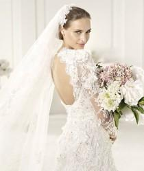wedding photo - Pronovias Elie Saab Lyon 2013 Bridal Collection ♥ Gorgeous Hand-Embroidered Lace Long Sleeved Open Back Wedding Dress