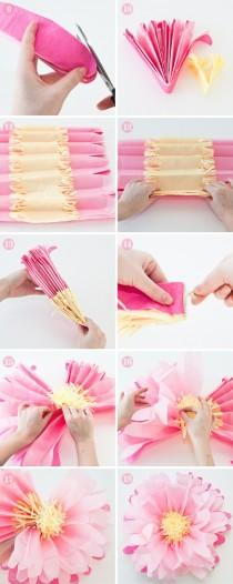 wedding photo - DIY Pink Large Tissue Paper Flowers Tutorial
