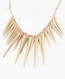 wedding photo - Exaggerate Gold Plated Spike Necklace - Sheinside.com