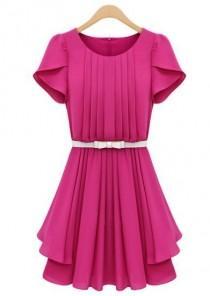 wedding photo - Rose Red Ruffles Short Sleeve Pleated Chiffon Dress - Sheinside.com