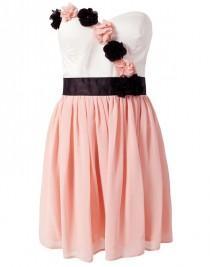 wedding photo - Pink Applique Belt Ruffle Dress - Sheinside.com