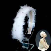 wedding photo - White Swan Feather Rhinestone Headband Wedding Bridal Ballerina Headpiece