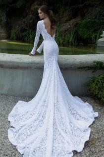 wedding photo - 2014 New Mermaid Chapel Train Lace Hot White Ivory Customed Sexy Bridal Gowns