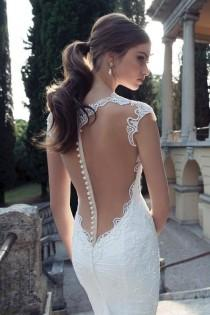 wedding photo - Open back white wedding dress with floral laces