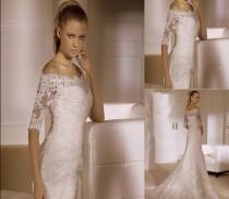 wedding photo - جديد 2014 أبيض / العاج فستان الزفاف حجم مخصص 2-4-6-8-10-12-14-16-18-20-22
