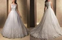 wedding photo - 2014 الحجم أبيض / العاج الرباط فستان الزفاف مخصص 2-4-6-8-10-12-14-16-18-20-22