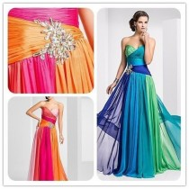wedding photo - 2014 neue bunte Chiffon-lange formale Abend-Brautjungfer Abendkleid Kleid