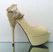 wedding photo - Gold Evening Party Crystal Bead Bows Platform Stilettos Open Toe Wedding Shoes