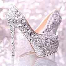 wedding photo - Zapatos brillantes de plata diamante hecho a mano del grano de boda Rhinestone nupcial High Heels