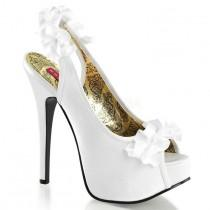 "wedding photo - BORDELLO TEE56/WSA Hidden Platform White Satin Ruffle Slingbacks 6"" High Heels"