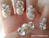 wedding photo - Японские 3D Ногтей, Нажмите На Ногти, накладные Ногти - Красивый Серебряный Бриллиант Стразами типсы (T087K)