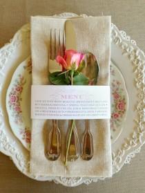wedding photo - 25 QTE - Menu de mariage serviette Wraps, personnalisable et abordable