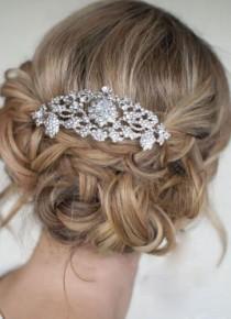 wedding photo - Люкс Для Невесты Цветок Fleur De Lis Волосы Расческой Ясно, Кристаллы, Стразы