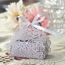 wedding photo - 36pcs Lilac Rose Shaped Candy Boxes With Ribbons Wedding Favor Party Gift Boxes
