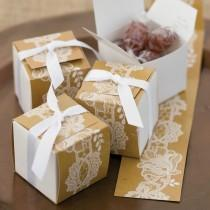 wedding photo - Hortense Rustic Lace Themed Reversible Wrap Wedding Favor Boxes Pack Of 25
