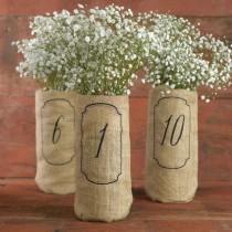 wedding photo - Hortense Burlap Wine Bag Wedding Table Numbers Framed 1-10