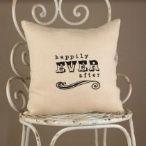 wedding photo - Happily Ever After Linen 12 X 12 Throw Pillow Bridal Shower Wedding Gift