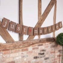 wedding photo - Just Married Brown Paper Bunting