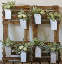 wedding photo - Rustic Wedding Table Plan With Flower Pots