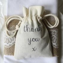 wedding photo - Thank You Cotton Wedding Favour Bags