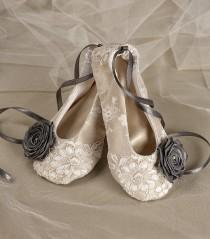 wedding photo - Satin Flower Girl Shoes - Baby Toddle, Ballet Flats for Flower Girls Champagne and grey Lace  Ballerina Slippers - New