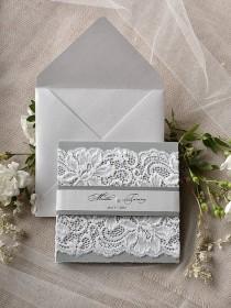 wedding photo - Custom Listing (20) Silver And Grey Wedding Invitation, Lace Wedding Invitations, Vintage Grey Wedding Invitation 4lovepolkadotslkadots