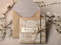 wedding photo - Custom Listing (100) Recycling Paper, Lace Wedding Invitation, Pocket Fold Rustic Wedding Invitation