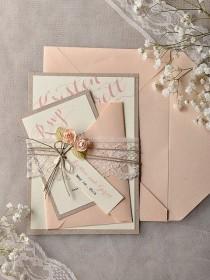 wedding photo - Custom Listing (20) Invitations Grey Peach Wedding Invitation, Vintage Lace Wedding Invitations, Rustic Wedding Invitation