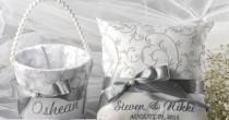 wedding photo - Flower Girl Basket & Ring Bearer Pillow Set, Grey Satin And Cream Lace