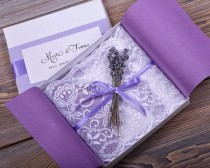 wedding photo - Custom Listing (100) Lace And Lavender Wedding Invitation, Vintage Wedding Invitations , Rustic Box Wedding Invitation
