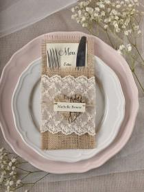 wedding photo - Custom Listing (10) LACE Silverware Holders, Rustic Burlap Silverware Holders, Wedding Rustic Menu, Wedding Table Set, Rustic Escort Cart
