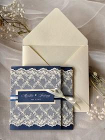 wedding photo - Custom Listing (20) Navy Wedding Invitation, Lace Wedding Invitations, Vintage Wedding Invitation, Ecru And Black, 4lovepolkadots