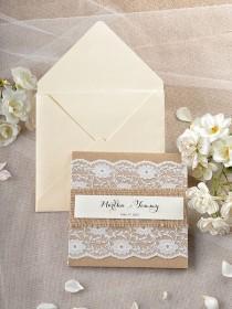 wedding photo - Custom Listing (20) Rustic Wedding Invitation, Lace Wedding Invitations , Recycled Wedding Invitation 4lovepolkadotslkadots