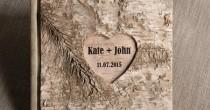 wedding photo - Wood Guestbook, Wooden Wedding Guest Book, Natural Birch Bark , Country Style Engraverd Names