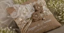 wedding photo - WEDDING SET Lace Rustic Wedding Pillow & Burlap Basket